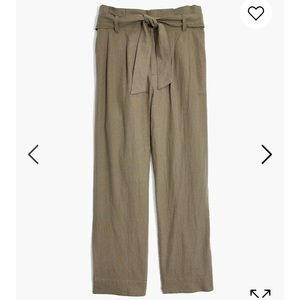 Madewell Olive Paperbag Pants, Size 8, Madewell